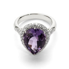 Hollywood Teardrop Amethyst & Diamond Ring