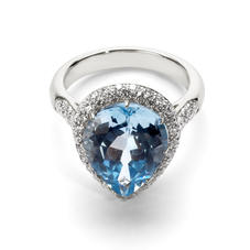 Hollywood Teardrop Blue Topaz & Diamond Ring