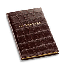 Slim Pocket Address Book in Deep Shine Amazon Brown Croc