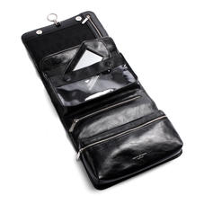 Men's Leather Hanging Wash Bag in Smooth Black