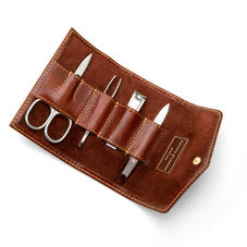 Men's Manicure Set in Smooth Cognac & Espresso Suede