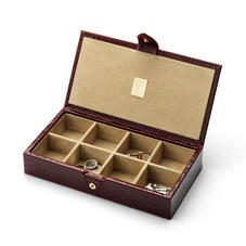 Men's Cufflink Box in Deep Shine Amazon Brown Croc & Stone Suede