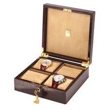 Harrison Square Four Watch Box in Deep Shine Amazon Brown Croc & Stone Suede