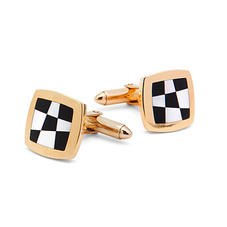 9ct Gold Black Onyx & Mother of Pearl Chequered Cufflinks