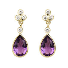 Aphrodite Teardrop Amethyst & Diamond Earrings