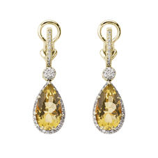 Hollywood Teardrop Lemon Quartz & Diamond Earrings