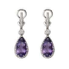 Hollywood Teardrop Amethyst & Diamond Earrings