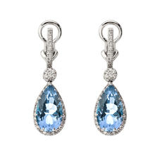 Hollywood Teardrop Blue Topaz & Diamond Earrings