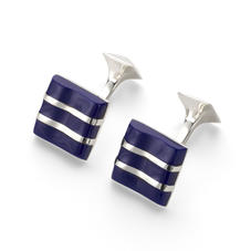 Wave Sterling Silver & Lapis Cufflinks