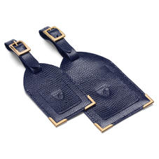 Set of 2 Luggage Tags in Midnight Blue Lizard