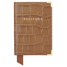 Passport Cover in Deep Shine Vintage Tan Croc & Cappuccino Suede
