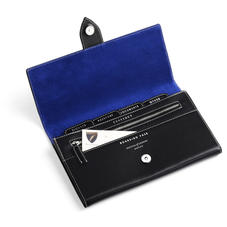 Deluxe Travel Wallet in Smooth Black & Cobalt Suede