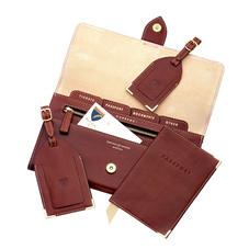 Deluxe Travel Collection in Smooth Cognac & Stone Suede