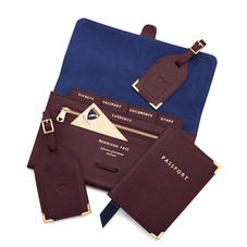 Classic Travel Collection in Burgundy Saffiano & Navy Suede