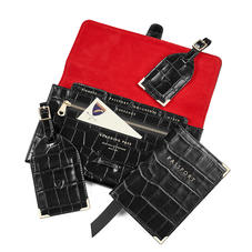 Classic Travel Collection in Deep Shine Black Croc & Red Suede