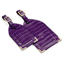 Set of 2 Luggage Tags in Deep Shine Amethyst Small Croc