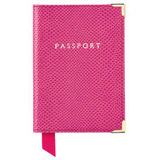Passport Cover in Raspberry Lizard & Pale Blue Suede