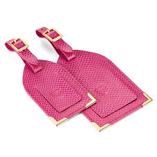 Set of 2 Luggage Tags in Raspberry Lizard