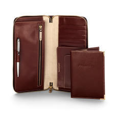 Zipped Travel Wallet with Passport Cover in Smooth Cognac & Stone Suede