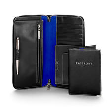 Zipped Travel Wallet with Passport Cover in Smooth Black & Cobalt Blue Suede