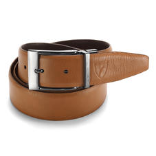 Men's Reversible Leather Belt in Smooth Brown & Tan