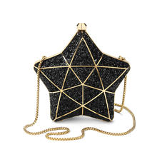 Star Clutch in Black Glitter