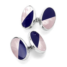 Sterling Silver Blue Lapis & Pink Mother of Pearl Oval Bicolour Cufflinks