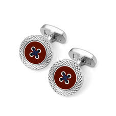 Sterling Silver Plated Engraved Edge Button Cufflinks in Red Enamel