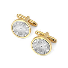 Gold Plated with Sterling Silver Plated Engraved Centre Round Cufflinks