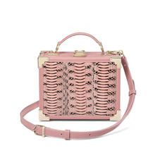Mini Trunk Clutch in Dusky Pink Water Snake