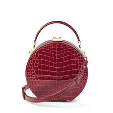 Hat Box in Bordeaux Patent Croc