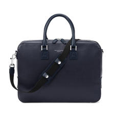 Small Mount Street Laptop Bag in Navy Saffiano