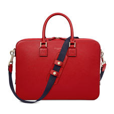 Small Mount Street Laptop Bag in Scarlet Saffiano