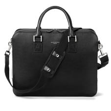Large Mount Street Laptop Bag in Black Saffiano