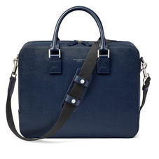 Large Mount Street Laptop Bag in Navy Saffiano