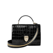 Mayfair Bag in Deep Shine Black Croc with Stripe Strap