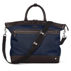 Small Anderson Tote in Navy Nylon & Smooth Chocolate Leather Trim
