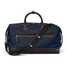 Anderson Holdall in Navy Nylon & Smooth Chocolate Leather Trim