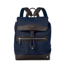 Anderson Backpack in Navy Nylon & Smooth Chocolate Leather Trim