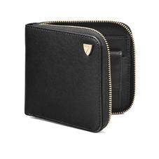 Mount Street Zip Around Wallet in Smooth Black