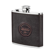 Aerodrome Classic 5oz Leather Hip Flask in Dark Brown Pebble