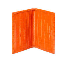 Double Fold Credit Card Case in Deep Shine Amber Small Croc