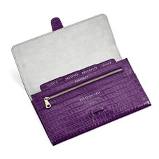 Classic Travel Wallet in Deep Shine Amethyst Small Croc