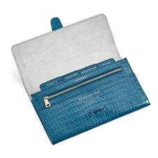 Classic Travel Wallet in Deep Shine Topaz Small Croc