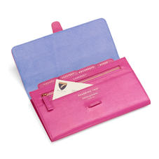 Classic Travel Wallet in Raspberry Lizard & Pale Blue Suede