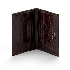 Double Fold Credit Card Case in Deep Shine Amazon Brown Croc