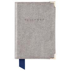 Passport Cover in Gunmetal Saffiano