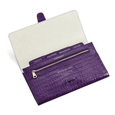 Travel Wallet in Deep Shine Amethyst Small Croc