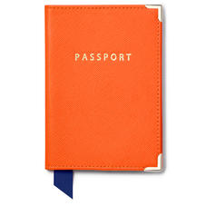 Passport Cover in Bright Orange Saffiano