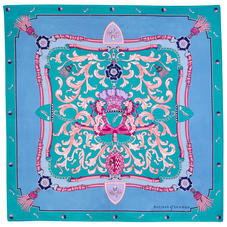 Aspinal Signature Shield Silk Scarf in Bluebird